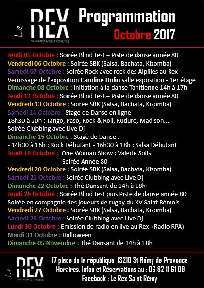 programme octobre 2017 Le Rex Saint Remy de Provence