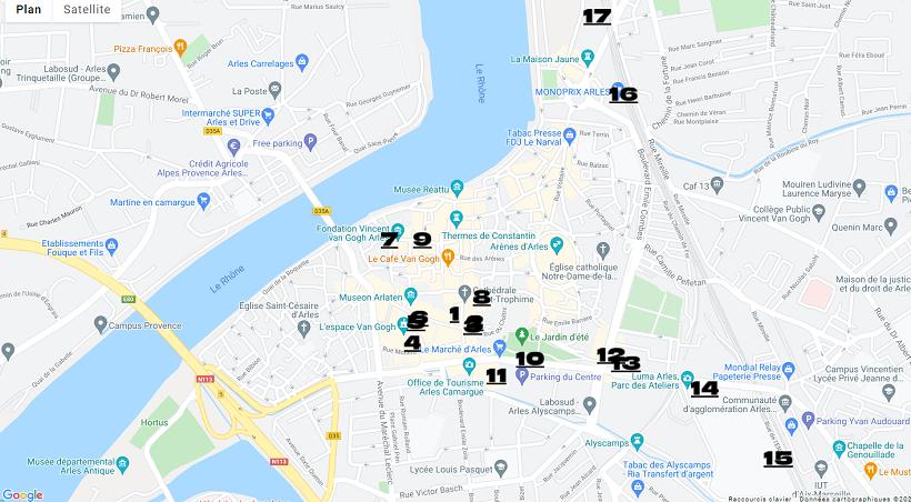 Plan des lieux d'exposition des rencontres de la Photo d'Arles 2021