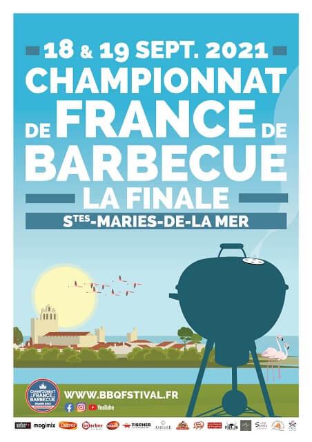 Affiche Finale Championnat de France de Barbecue BBQ 2021 aux Saintes Maries de la Mer en Camargue