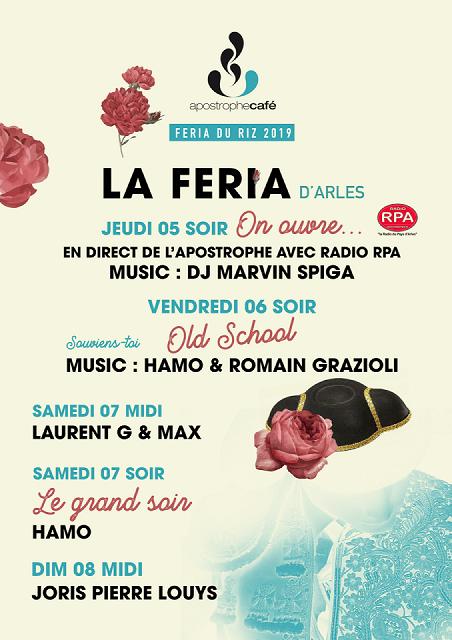 programme féria du riz septembre 2019 à Arles à l'Apostrophe Café place du Forum