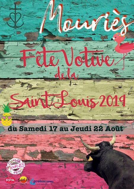 fête votive saint Louis 2019 à Mouriès le programme