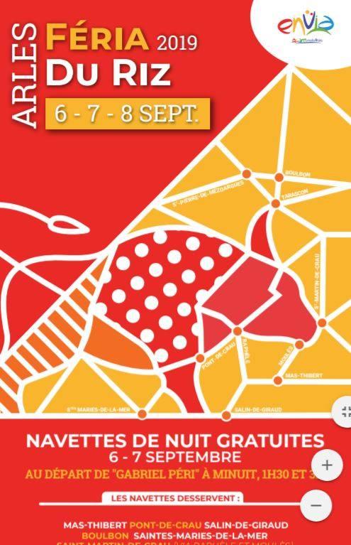 navette de nuit gratuites Féria du riz Arles 2019
