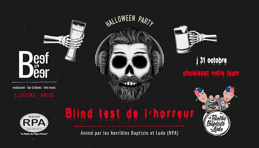 Blind Test de l'horreur et soirée Halloween au Beef N Beer à Arles