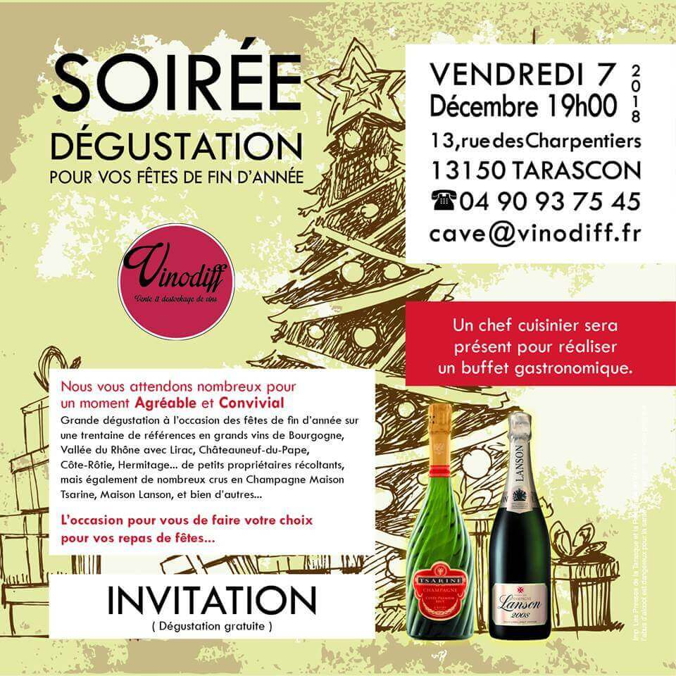 soirée dégustation vins et champagnes chez Vinodiff à Tarascon