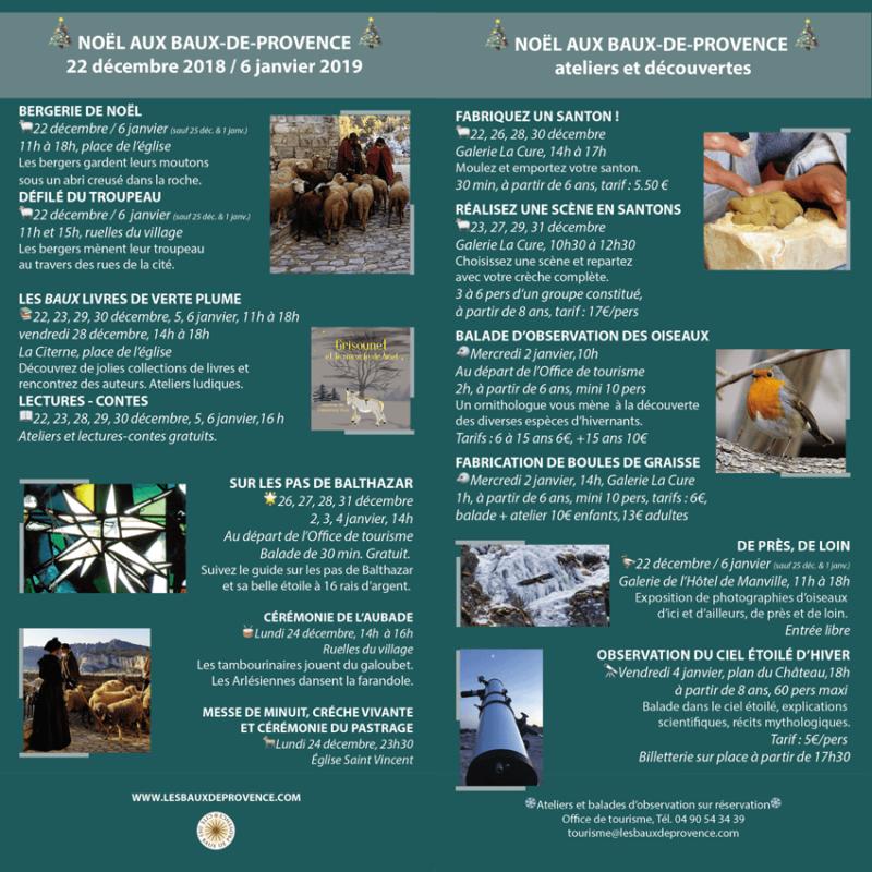 Noel 2018 aux Buax de Provence - le programme