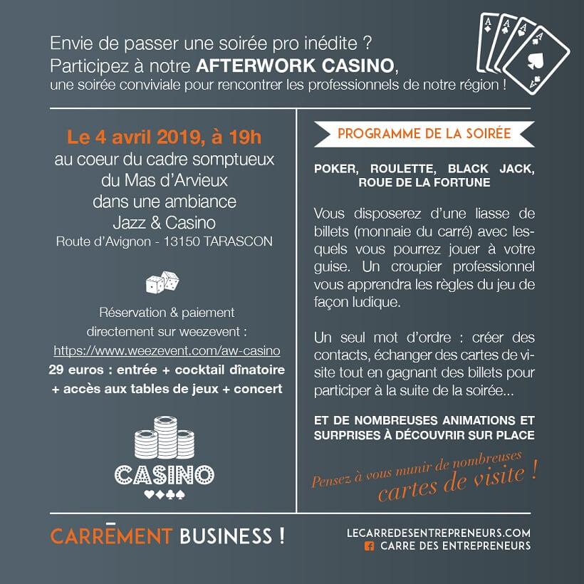Afterwork Casino du Carré des entrepreneursr de Tarascon le 4 avril au Mas d'Arvieux
