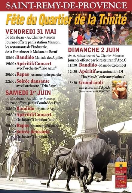 affiche fête du quartier de la trinité 2019 à Saint Rémy de Provence