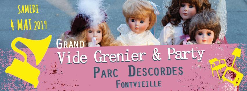 Vide-grenier et Party le 4 mai 2019 au Parc des Cordes à Fontvieille