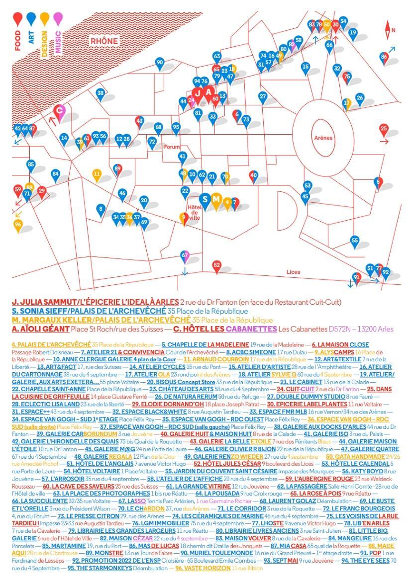 plan des lieux, expos et evenement du festival Eté Indien s 2020 à Arles