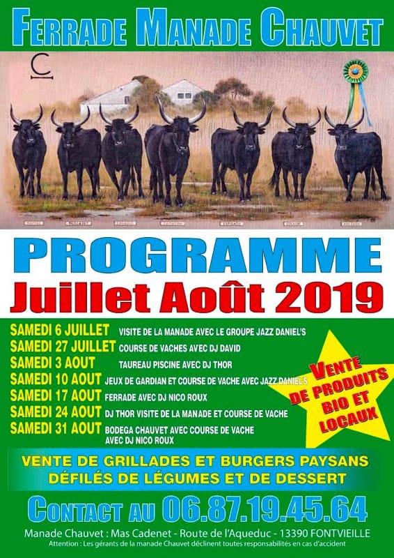 programme 2019 ferrades à la Manade Chauvet à Fontvieille