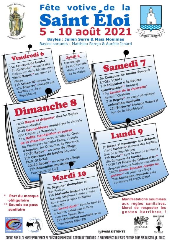 Fête de la Saint Eloi 2021 à Saint Etienne du Grès, le programme