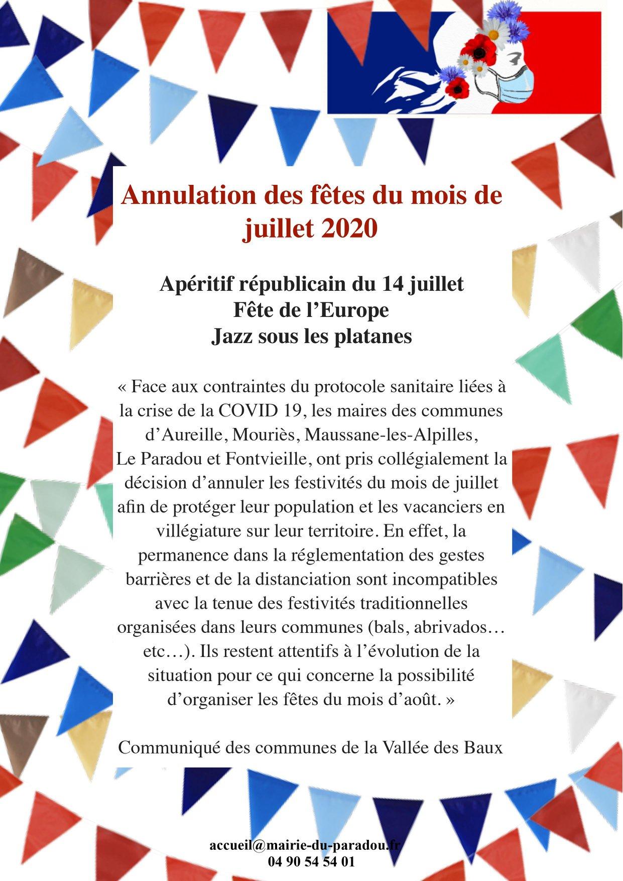 Calendrier Fete Votive 2021 Fête Votive Paradou 2020   Le programme complet des festivités