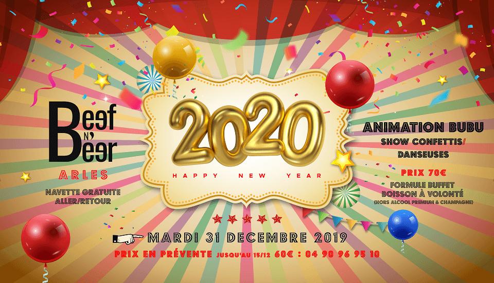 reveillon jour de l'an 2020 au restaurant le Beef N Beer à Arles