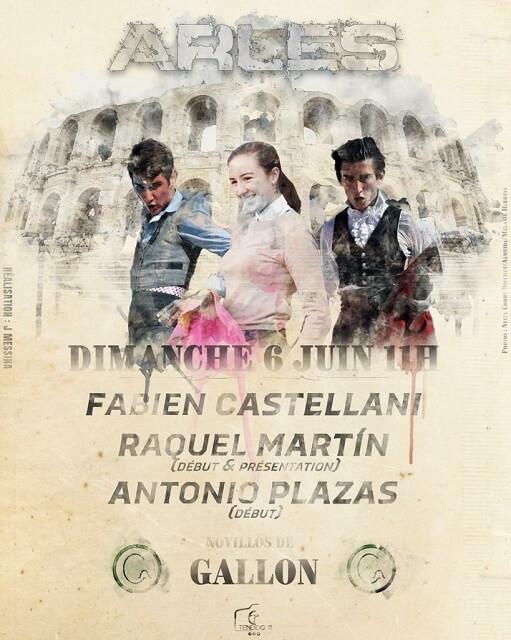 affiche novillada journée taurine du 6 juin 2021 aux arènes d'Arles