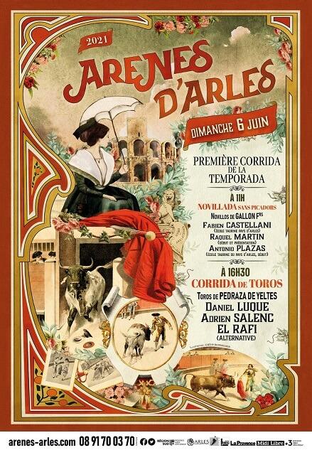 affiche de la journée taurine du 6 juin 2021 aux arènes d'Arles - corrida et novillada
