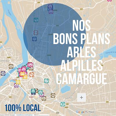 carte des bons plans pour consommer local a Arles, dans les Alpilles et en Camargue