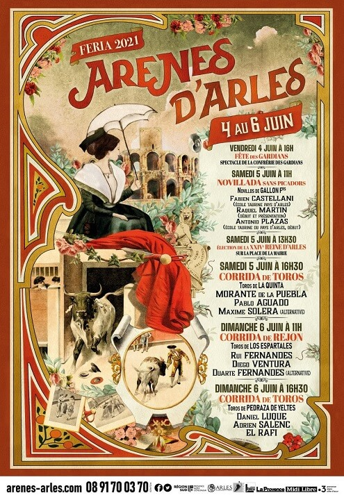 Affiche Féria de Pâques 2021 aux arènes d'Arles du 4 au 6 juin 2021